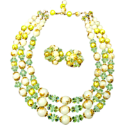 SALE Soothing Greens Crystal AB & Plastic  Triple Strand Bead Necklace