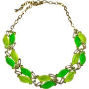 SALE Radiant Green Apple Molded Leaves Thermoset Necklace