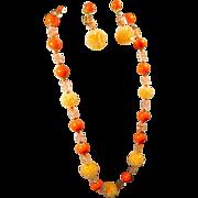 Yummy Tangerine Beaded Necklace & Earrings