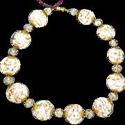 SALE Venetian White & Copper Art Glass Necklace
