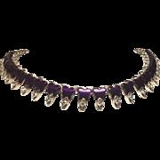 SALE Deep Purple Butterfly Thermoset & Rhinestone Necklace