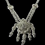 SALE Cascading Art Nouveau Style Floral Pendant Necklace with Drops
