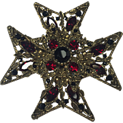 Large Selini Maltese Cross Brooch  w Red & Black Rhinestones