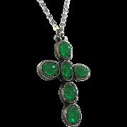 Faux Jade Green Scarab Cross Pendant by Judy Lee