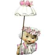 Pretty in Pink Umbrella Girl Head Vase