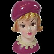 SALE Lady Head Vase w Pastel Magenta Beret