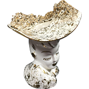 Miniature Glamour Girl Head Vase w Big Hat & Attitude