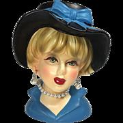 SALE Rubens Lady Head Vase in Blue