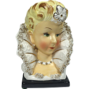 Ucagco Elizabethan Lady Head Vase w Fanned Collar in Spaghetti Trim