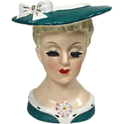 Sweet Napco Lady Head Vase w Green Suit & Hat