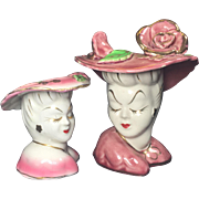 SALE Glamour Girl Lady Head Vases Pair in Pink