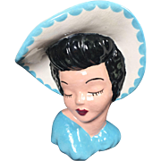 SALE Classic Glamour Girl Lady Head Vase in Light Blue