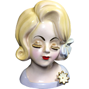 SALE Sweet Lady Head Vase w Gold Lashes & Pale Blonde Hair & Skin