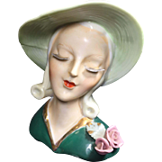 SALE Art Deco Style Lady Head Vase w Thin Delicate Lashes