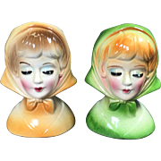 Retro Petite Lady Head Vases w Scarves