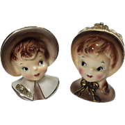 Enesco Golden Girl Series Lady Head Vase Pair