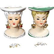 Petite Lady Head Vase Pair w Interchangeable Christmas Earrings
