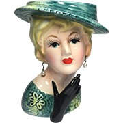 Lefton Lady Head Vase in Green w Black Glove