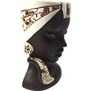 Retro Modern Dark Skinned Ethnic Lady Head Vase / Wall Pocket