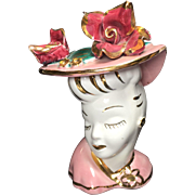 Chic Victorian Style Glamour Girl Lady Head Vase in Pink w Roses