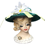 Repurposed Napco Daisy Lady Head Vase