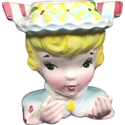 Enesco Blonde Lady Girl Head Vase Card Holder