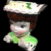 Enesco Brunette Lady Girl Head Vase Card Holder
