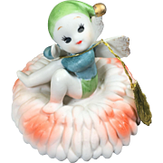 Napco Ceramic Pixie Fairy Flower Birthday Figurine — November, Chrysanthemum