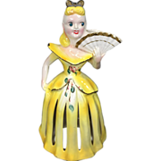 SALE PENDING Kreiss Yellow Napkin Holder Lady w Candle Holder & Fan