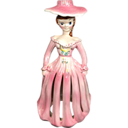 SALE PENDING Kreiss Pink Napkin Holder Lady w Candle Holder Hat