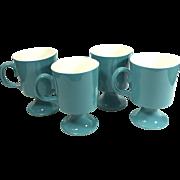Vintage Mod Turquoise Pedestal Coffee Mugs Set of Four for North Star Salem
