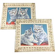 SALE Pair Shabby Chic Paint-by-Number Kitten Art Pictures