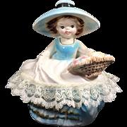 Ucagco Girl w Basket Covered Dresser / Vanity Dish