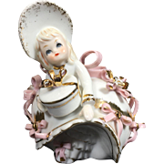 Vintage Lefton China Bloomer Girl in Pink w Gold Accents