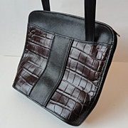 SALE American Executive Black & Burgundy Leather Crossover Mailbag Purse