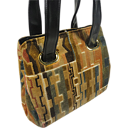 SALE Chic Vintage Carpet Bag Chenille Purse in Mod Geometric Pattern