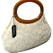 SOLD Curvy Cream Tapestry French Purse w Round Tortoise Lucite Handles