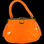 Mod Orange Faux Patent Leather Vinyl Purse w Buckle