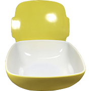 Large Mod Vintage Yellow Square Pyrex Bowl w Lid