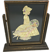 SALE Bridesmaid / Belle in Yellow Ribbon Doll in Art Deco Wood Swing Frame