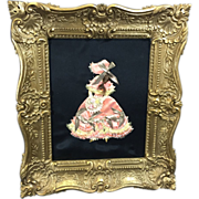 SALE Lady Ribbon Doll w Real Hair & Bouquet in Elaborate Burwood Frame