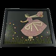 SALE Windy Day Paper Lady Ribbon Doll Art Picture w Fly Away Bonnet in Garden