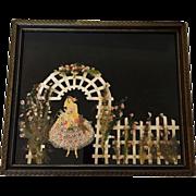Rare Art Deco Bride Under Garden Trellis Ribbon Doll Picture