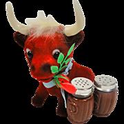 SALE Funky Flocked Red Bull Salt & Pepper Shaker Holder