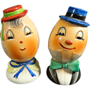 SALE Caricature Egghead Mr & Mrs Salt & Pepper Shakers