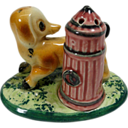 Dog & Fire Hydrant on Grass Stand Salt & Pepper Shakers