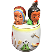 SALE Indian Native American Nodder Salt & Pepper Shaker w Chief & Unusual Barrel