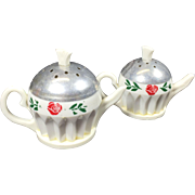 SALE Retro Plastic & Aluminum Tea Pot Salt & Pepper Shakers