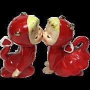 SOLD Vintage Kissing Devil Valentine Salt & Pepper Shakers