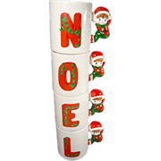 Christmas NOEL Elf / Pixie Stacking Christmas Mugs